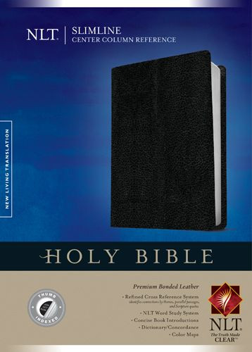 Slimline Center Column Reference Bible NLT (Red Letter, Bonded Leather, Black, Indexed) - Premium Bonded Leather Black With thumb index and ribbon marker(s)