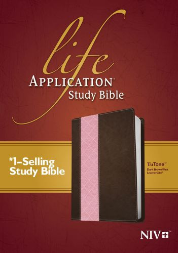 NIV Life Application Study Bible, Second Edition, TuTone (Red Letter, LeatherLike, Dark Brown/Pink) - LeatherLike Dark Brown/Multicolor/Pink With ribbon marker(s)
