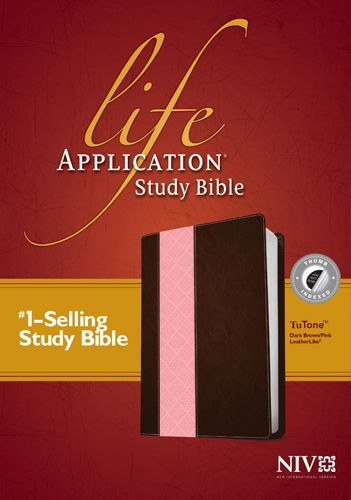 NIV Life Application Study Bible, Second Edition, TuTone (Red Letter, LeatherLike, Dark Brown/Pink, Indexed) - LeatherLike Dark Brown/Multicolor/Pink With thumb index and ribbon marker(s)