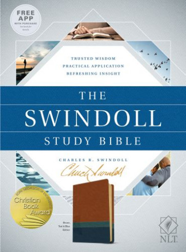 The Swindoll Study Bible NLT, TuTone (LeatherLike, Brown/Teal/Blue) - Imitation Leather Blue/Brown/Multicolor/Teal With ribbon marker(s)