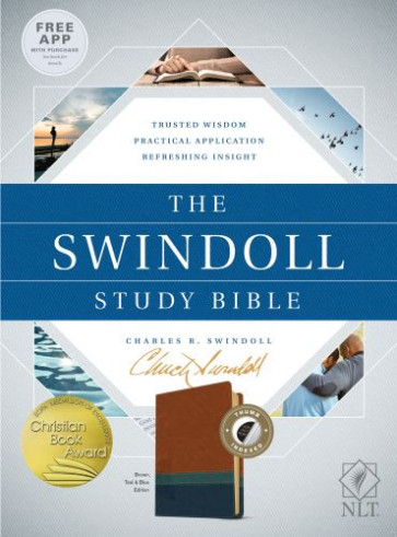 The Swindoll Study Bible NLT, TuTone (LeatherLike, Brown/Teal/Blue, Indexed) - Imitation Leather Blue/Brown/Multicolor/Teal With thumb index and ribbon marker(s)