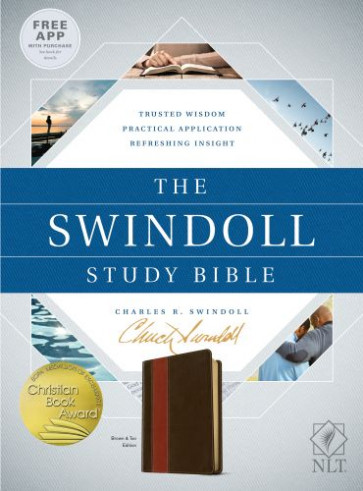 The Swindoll Study Bible NLT, TuTone (LeatherLike, Brown/Tan) - LeatherLike Brown/Multicolor/Tan With ribbon marker(s)