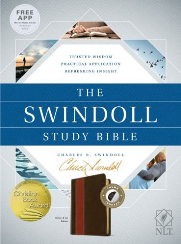 The Swindoll Study Bible NLT, TuTone (LeatherLike, Brown/Tan, Indexed) - LeatherLike Brown/Multicolor/Tan With thumb index and ribbon marker(s)