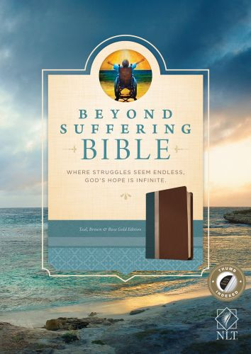 Beyond Suffering Bible NLT, TuTone (LeatherLike, Teal/Brown/Rose Gold, Indexed) - LeatherLike Brown/Rose Gold/Multicolor/Teal With thumb index and ribbon marker(s)