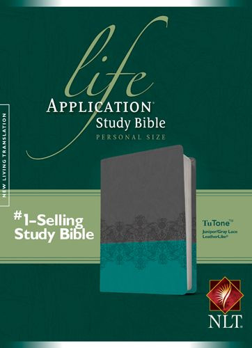 NLT Life Application Study Bible, Second Edition, Personal Size (LeatherLike, Gray Lace/Juniper) - LeatherLike Juniper/Gray Lace/Multicolor With ribbon marker(s)