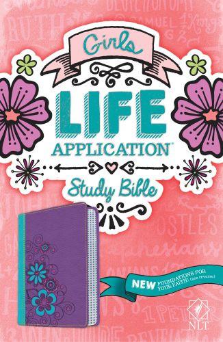 NLT Girls Life Application Study Bible, TuTone (LeatherLike, Purple/Teal) - LeatherLike Purple/Teal With ribbon marker(s)