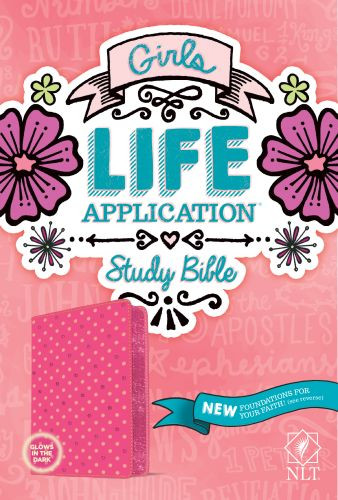 Girls Life Application Study Bible NLT - LeatherLIke Multicolor/Pink/Glow With ribbon marker(s)