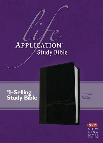 NKJV Life Application Study Bible, Second Edition (Red Letter, LeatherLike, Black/Onyx) - LeatherLike Black/Onyx/Multicolor With ribbon marker(s)