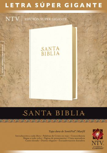 Santa Biblia NTV, Edición súper gigante (Letra Roja, SentiPiel, Marfil, Índice) - LeatherLike/Hardcover Ivory With thumb index and ribbon marker(s)