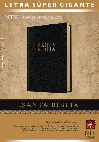 Santa Biblia NTV, Edición súper gigante (Letra Roja, SentiPiel, Negro, Índice) - LeatherLike/Hardcover Black With thumb index and ribbon marker(s)