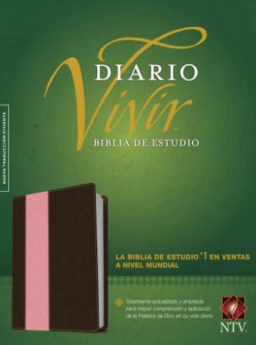 Biblia de estudio del diario vivir NTV (Letra Roja, SentiPiel, Café/Rosa, Índice) - LeatherLike Brown/Pink With thumb index and ribbon marker(s)