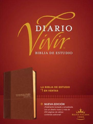 Biblia de estudio del diario vivir RVR60 (Letra Roja, SentiPiel, Café/Café claro) - LeatherLike Brown/Tan With ribbon marker(s)