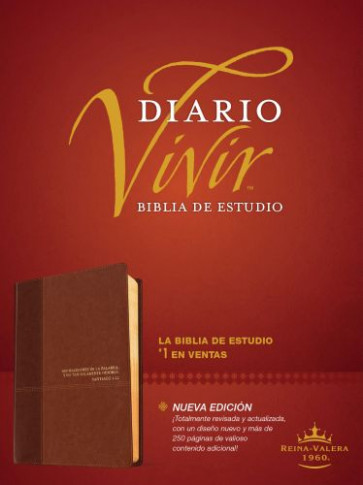 Biblia de estudio del diario vivir RVR60 (Letra Roja, SentiPiel, Café/Café claro, Índice) - LeatherLike Brown/Tan With thumb index and ribbon marker(s)
