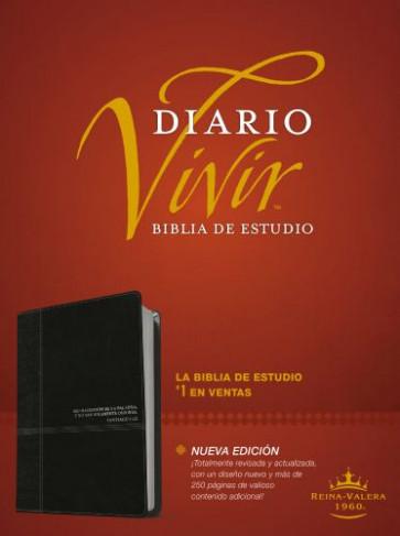 Biblia de estudio del diario vivir RVR60 (Letra Roja, SentiPiel, Negro/Ónice) - LeatherLike Black/Onyx With ribbon marker(s)