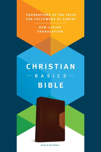 Christian Basics Bible NLT, TuTone (LeatherLike, Brown/Tan) - LeatherLike Brown/Multicolor/Tan With ribbon marker(s)