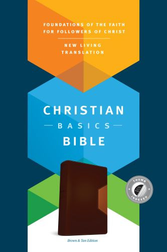 Christian Basics Bible NLT, TuTone (LeatherLike, Brown/Tan, Indexed) - LeatherLike Brown/Multicolor/Tan With thumb index and ribbon marker(s)