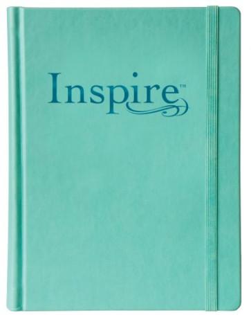 Inspire Bible NLT (Hardcover LeatherLike, Aquamarine) - Hardcover Aquamarine With ribbon marker(s) Wide margin