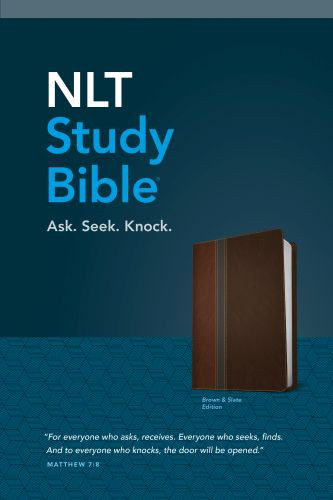 NLT Study Bible, TuTone (Red Letter, LeatherLike, Brown/Slate) - LeatherLike Brown/Slate/Multicolor With ribbon marker(s)