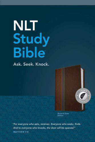 NLT Study Bible, TuTone (Red Letter, LeatherLike, Brown/Slate, Indexed) - LeatherLike Brown/Slate/Multicolor With thumb index and ribbon marker(s)
