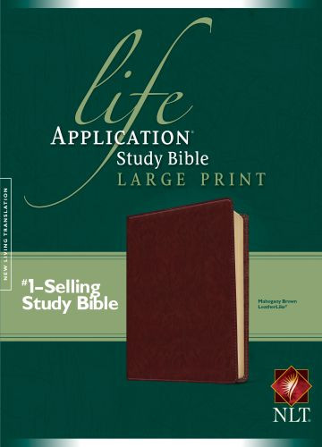 NLT Life Application Study Bible, Second Edition, Large Print (Red Letter, LeatherLike, Brown) - LeatherLike Brown With ribbon marker(s)