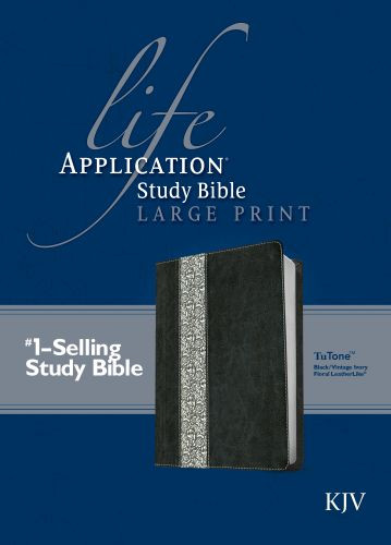 KJV Life Application Study Bible, Second Edition, Large Print (Red Letter, LeatherLike, Black/Vintage Ivory Floral) - LeatherLike Black/Vintage Ivory Floral With ribbon marker(s)