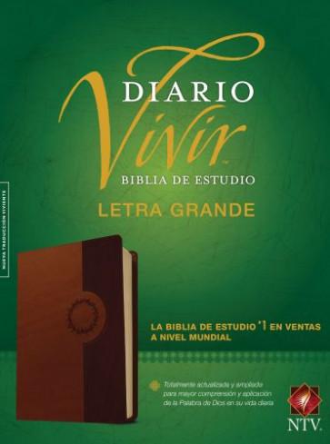 Biblia de estudio del diario vivir NTV, letra grande (Letra Roja, SentiPiel, Café/Café claro) - LeatherLike Brown/Tan With ribbon marker(s)