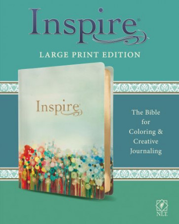 Inspire Bible Large Print NLT (LeatherLike, Floral Fields with Gold) - Shimmery LeatherLike With ribbon marker(s) Wide margin
