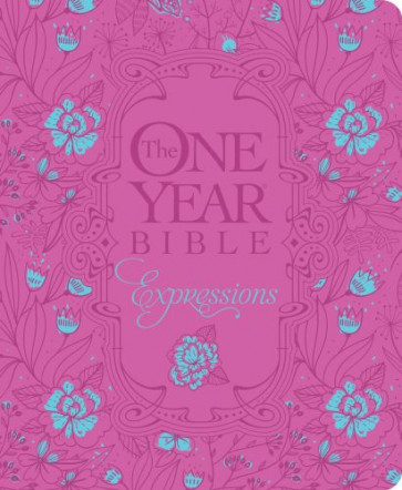 The One Year Bible Expressions, Deluxe - Hardcover Pink Flower w With ribbon marker(s)