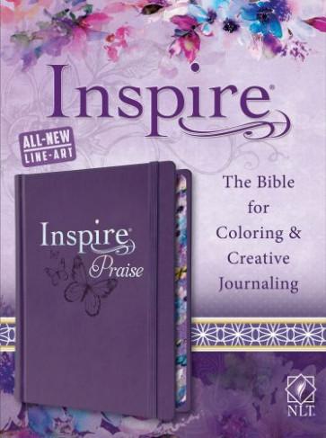 Inspire PRAISE Bible NLT (Hardcover LeatherLike, Purple) - Hardcover Purple With ribbon marker(s) Wide margin