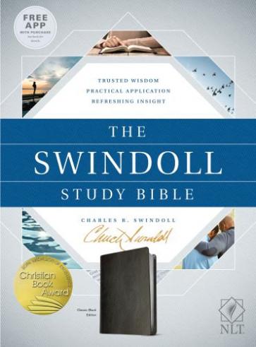 The Swindoll Study Bible NLT (LeatherLike, Black) - LeatherLike Black With ribbon marker(s)