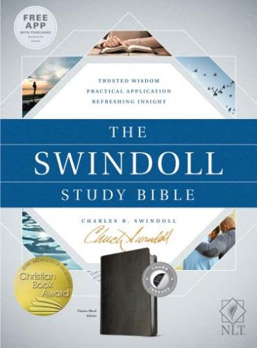 The Swindoll Study Bible NLT (LeatherLike, Black, Indexed) - LeatherLike Black With thumb index and ribbon marker(s)