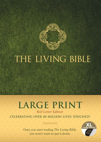 The Living Bible Large Print Red Letter Edition - Hardcover Green With thumb index