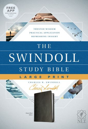 The Swindoll Study Bible NLT, Large Print (LeatherLike, Black) - LeatherLike Black With ribbon marker(s)