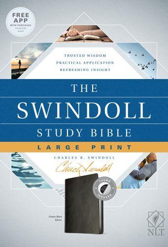 The Swindoll Study Bible NLT, Large Print (LeatherLike, Black, Indexed) - LeatherLike Black With thumb index and ribbon marker(s)