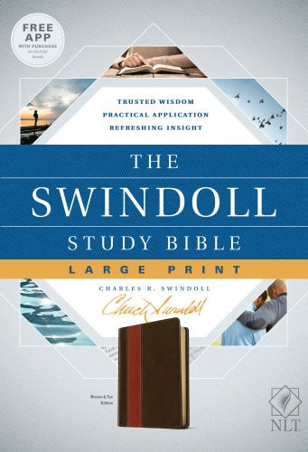 The Swindoll Study Bible NLT, Large Print (LeatherLike, Brown/Tan) - LeatherLike Brown/Multicolor/Tan With ribbon marker(s)