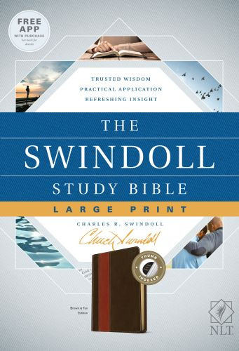 The Swindoll Study Bible NLT, Large Print (LeatherLike, Brown/Tan, Indexed) - LeatherLike Brown/Multicolor/Tan With thumb index and ribbon marker(s)