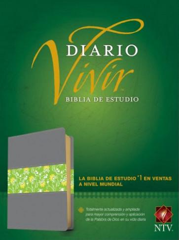 Biblia de estudio del diario vivir NTV (Letra Roja, SentiPiel, Gris/Verde, Índice) - LeatherLike Green/Gray With thumb index and ribbon marker(s)