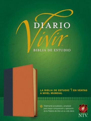 Biblia de estudio del diario vivir NTV (Letra Roja, SentiPiel, Azul/Café claro, Índice) - LeatherLike Blue/Tan With thumb index and ribbon marker(s)