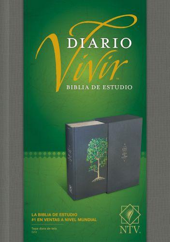 Biblia de estudio del diario vivir NTV (Letra Roja, Tapa dura de tela, Gris, Índice) - Hardcover Gray With thumb index and ribbon marker(s)