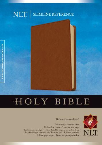 Slimline Reference Bible NLT (LeatherLike, Brown) - LeatherLike Brown With ribbon marker(s)
