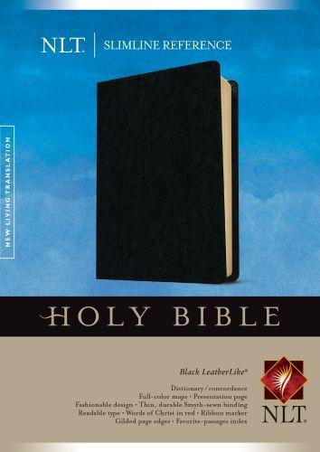 Slimline Reference Bible NLT (LeatherLike, Black) - LeatherLike Black With ribbon marker(s)