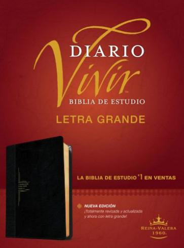 Biblia de estudio del diario vivir RVR60, letra grande (Letra Roja, SentiPiel, Negro/Ónice, Índice) - LeatherLike Black/Onyx/Multicolor With thumb index and ribbon marker(s)