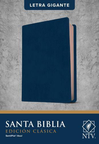 Santa Biblia NTV, Edición clásica, letra gigante  (Letra Roja, SentiPiel, Azul) - Leather / fine binding Blue With ribbon marker(s)