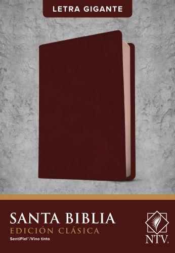 Santa Biblia NTV, Edición clásica, letra gigante  (Letra Roja, SentiPiel, Vino tinto, Índice) - Leather / fine binding Burgundy With thumb index and ribbon marker(s)