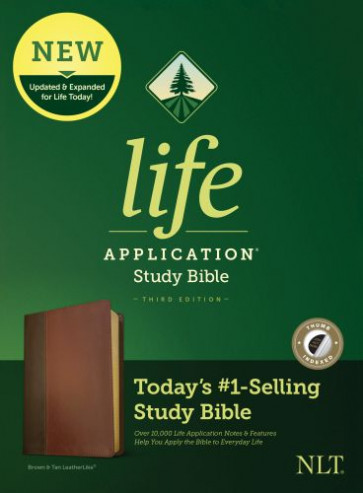 NLT Life Application Study Bible, Third Edition (LeatherLike, Brown/Mahogany, Indexed) - LeatherLike Brown/Mahogany/Multicolor With thumb index and ribbon marker(s)