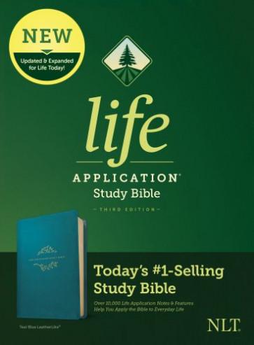 NLT Life Application Study Bible, Third Edition (LeatherLike, Teal Blue) - LeatherLike Teal Blue With ribbon marker(s)