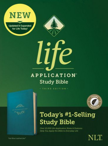 NLT Life Application Study Bible, Third Edition (LeatherLike, Teal Blue, Indexed) - LeatherLike Teal Blue With thumb index and ribbon marker(s)