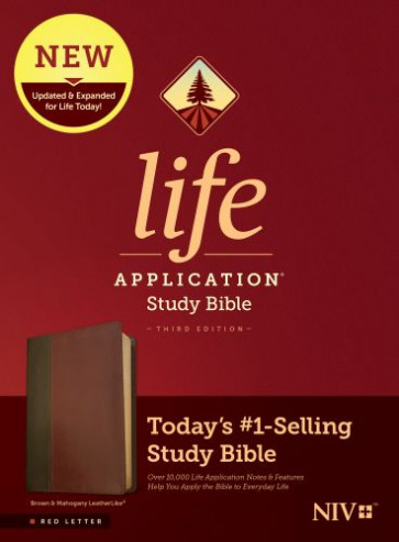 NIV Life Application Study Bible, Third Edition (Red Letter, LeatherLike, Brown/Mahogany) - LeatherLike Brown/Mahogany With ribbon marker(s)