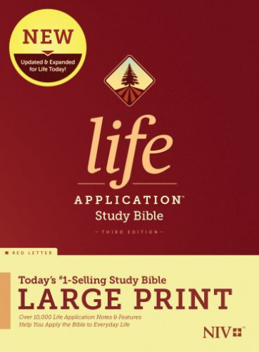 NIV Life Application Study Bible, Third Edition, Large Print (Red Letter, Hardcover) - Hardcover With printed dust jacket