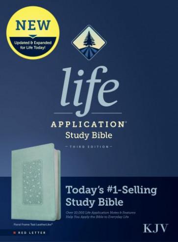 KJV Life Application Study Bible, Third Edition (Red Letter, LeatherLike, Floral Frame Teal) - Leather / fine binding Floral Frame Teal With ribbon marker(s)